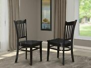 Groton Kitchen Dining Chair With Wood Seat - Black Finish- Set Of 2
