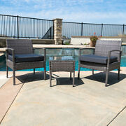 3 Pcs Outdoor Rattan Wicker Patio Chat Chairs And Table Furniture Set Lounge