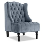 Wingback Accent Chair Tall High Back Living Room Tufted Nailhead - Gray / Beige