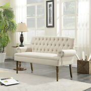 Button Tufted Settee Vintage Sofa Bench W/ Linen Fabric Wood Legs, Beige