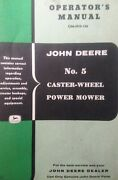 John Deere Ag Farm Tractor No. 5 Rear Sickle Bar Mower Implement Owners Manual