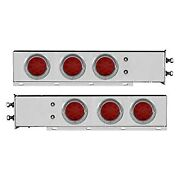 Red Spring Loaded Light Bars W Six 4 Led Reflector Lights And Visors