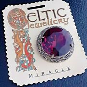 Stunning Vintage Large Unsigned Miracle Celtic Amethyst Purple Glass Brooch Pin
