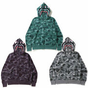 S-3xl A Bathnig Ape Menand039s Color Camo Shark Wide Full Zip Double Hoodie New