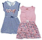 Girls Pack Of 2 Summer Skater Dresses Pink Butterfly Love Nautical 4 To 12 Years