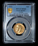 Pcgs Ms62 1912 Great Britain George V Gold Sovereign - Free Shipping In Us