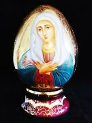 Hand Painted Russian Porcelain Egg Fenix Madonna Mary