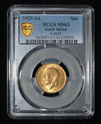 Pcgs Ms63 1929 Sa South Africa George V Gold Sovereign - Free Shipping In Us