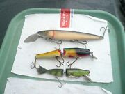Lot Of 3 Musky Lures,lucky Strike Canada ,cisco Kid 9 + 5 1/2 Jointed Radtke