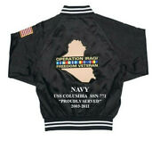 Operation Iraqi Freedom Uss Columbia Ssn-771 Navy 2-sided Jacket Embroidered