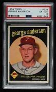 1959 Topps Sparky Anderson George On Card 338 Psa 6 Rookie Hof