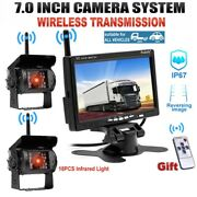 2x Wireless Ir Rear View Back Up Camera Night System + 7 Monitor For Truck Rv