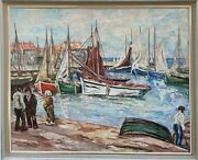Large Summer Harbour Scene With Fishing Boats And People 1968 Dated