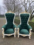 Wonderful Baroque High Back Chairs In Green – A Pair. Worldwide Shipping