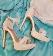 Custom Order Fairytale Wedding White Embroidered Lace Bridal Anklestrap Heels
