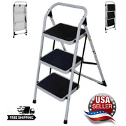 Ladder 3 Step Folding Non Slip Safety Tread Home Use Heavy Duty Industrial Usa