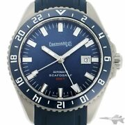 Unused Eberhard Scafograh Gmt 41038.2 Automatic Blue Dial Stainless Rubber Men's
