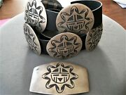 Southwestern Hopi Zia Sunface Sterling Silver Overlay Concho Belt W/ New Leather