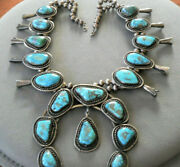Huge Navajo Spiderweb Morenci Turquoise Sterling Silver Squash Blossom Necklace