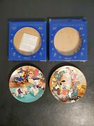 Lot Of 2 Disney Kenleys Collector Plates Three Little Pigs And Pinocchio W/ Boxes