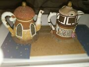 2 Hometown Teapot Cottages - Merry Go Round Toys And Antiques Collectibles