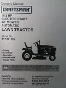 Sears Craftsman 16.5 H.p 42 Hydro Lawn Tractor 917.271645 Owner And Parts Manual