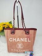 Deauville Pm Tote Bag Red Leather Pink Canvas Silver Chain Cc Logo