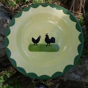 Zeller Keramik Cock And Hens Hahn And Henne 8 Wide Rimmed Soup Bowl Germany