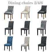 2/4/6 Dining Chair Upholstered Fabric Chair Solid Wooden Legs High Back Kitchen
