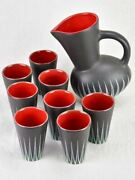 Andre Baud Vallauris Set Of Eight Cups And Tilted Pitcher - Black White Red And