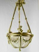 Pretty 19th Century Chandelier With Cherubs And Crystal Decorations 31andfrac12 X 15andfrac34
