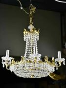 Vintage English Chandelier With Crystal Decorations - Nine Lights 24andfrac12