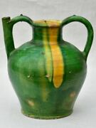 Superb 19th Century French Water Cruche With Green And Yellow Glaze 11½