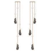 5497873 Naughty Rose Gold Black And White Crystal Pave Feather Earrings