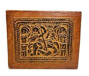 Vintage, Tooled Leather Box, Desk Letter Box Egyptian/ African Themed