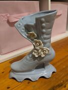 Vintage Victorian Pale Blue Shoe/boot Vase With White Roses 19x16cm
