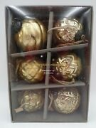 Pottery Barn Mercury Glass Adorned Victorian Christmas Ornaments S/6 Gold 9137