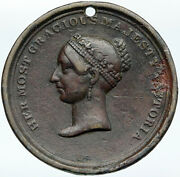 1838 Great Britain Uk Queen Victoria Coronation Antique Old Crown Medal I88265