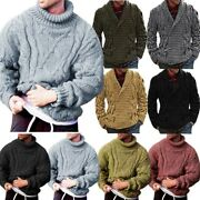 Mens Cable Knit Shawl Collar Sweater Jumper Knitwear Cardigan Coat Pullover Tops
