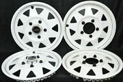 1970and039s White Gs Del-met Hubcaps Trailer 15 Gm Camper Rv Mag Style Set Of 4