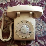 Vintage Itt Rotary Desk Phone Hard Wired Nude Tan Color Retro