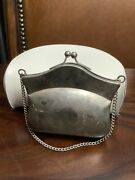 Antique Vintage Silver Plate Change Purse Compact Silver Inlay Wreath Design