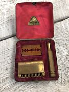 Vintage 30s Ever Ready Gold Plated Safety Razor Kit In Chrome Plated Chrome Case