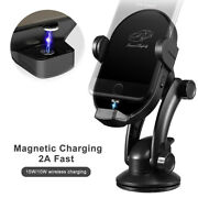 Qi Wireless Charger Car Dashboard Air Vent Mount Cradle Magnetic Phone Holder