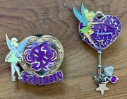 Disney Tinkerbell Purple February Set Of 2 Pins 2011 2013 Pre-owned