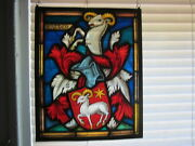 Antique Ornate Swiss Stained Glass Window Signed Fritz Haufler