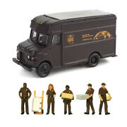 Walthers Scenemaster 1/87 Ho Scale Ups Delivery Truck And 5 Personnel Figures Set