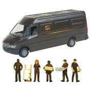 Walthers Scenemaster 1/87 Ho Scale Ups Delivery Van And 5 Personnel Figures Combo