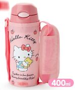 Sanrio Hello Kitty Thermos Bottle With Covered Straw 400ml Pink With Accessories