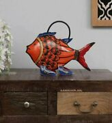 New Indian Water Cane Fish Animal Figurine In Multi Color Iron Metal Painted